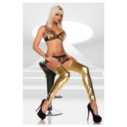 Χρυσές γυαλιστερές wetlook κάλτσες με ελαστική-σατινιένια υφή.