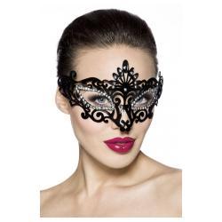 Πανέμορφη περίτεχνη μαύρη μάσκα διακοσμημένη με στρας