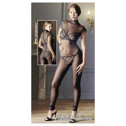 Μαύρο, διαφανές, ολόσωμο καλσόν από ελαστικό ύφασμα.