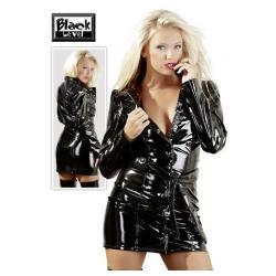 Καμπαρντίνα μαύρη σε βίνυλ ύφασμα, που μπορεί να φορεθεί και σαν φόρεμα