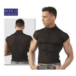 Μπλουζάκι μαύρο με κοντά μανίκια, ζιβάγκο στο λαιμό.