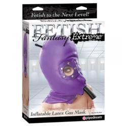 Ζήστε τη μαγεία της στέρησης αισθήσεων με την φουσκωτή λάτεξ μάσκα αερίου της Fetish Fantasy.