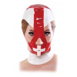 Κουκούλα από λάτεξ σε άσπρο/κόκκινο για κίνκυ νοσοκόμες!
