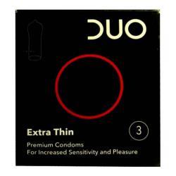 Προφυλακτικά DUO έξτρα λεπτά από λάτεξ για αυξημένη ευαισθησία και ευχαρίστηση.