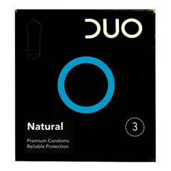 DUO προφυλακτικά, συσκευασία 3 λάτεξ προφυλακτικών.